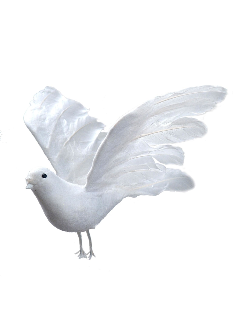 "10"" FEATHER DOVE - WHITE"
