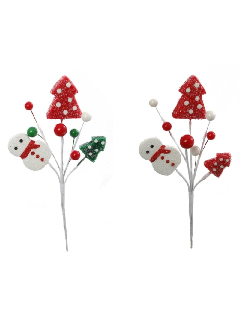"9"" ASSORTED SNOWMAN BERRY TREE PICK"