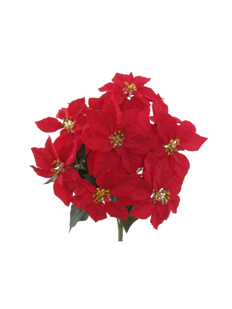 "20"" POINSETTIA BUSH X9 - RED"