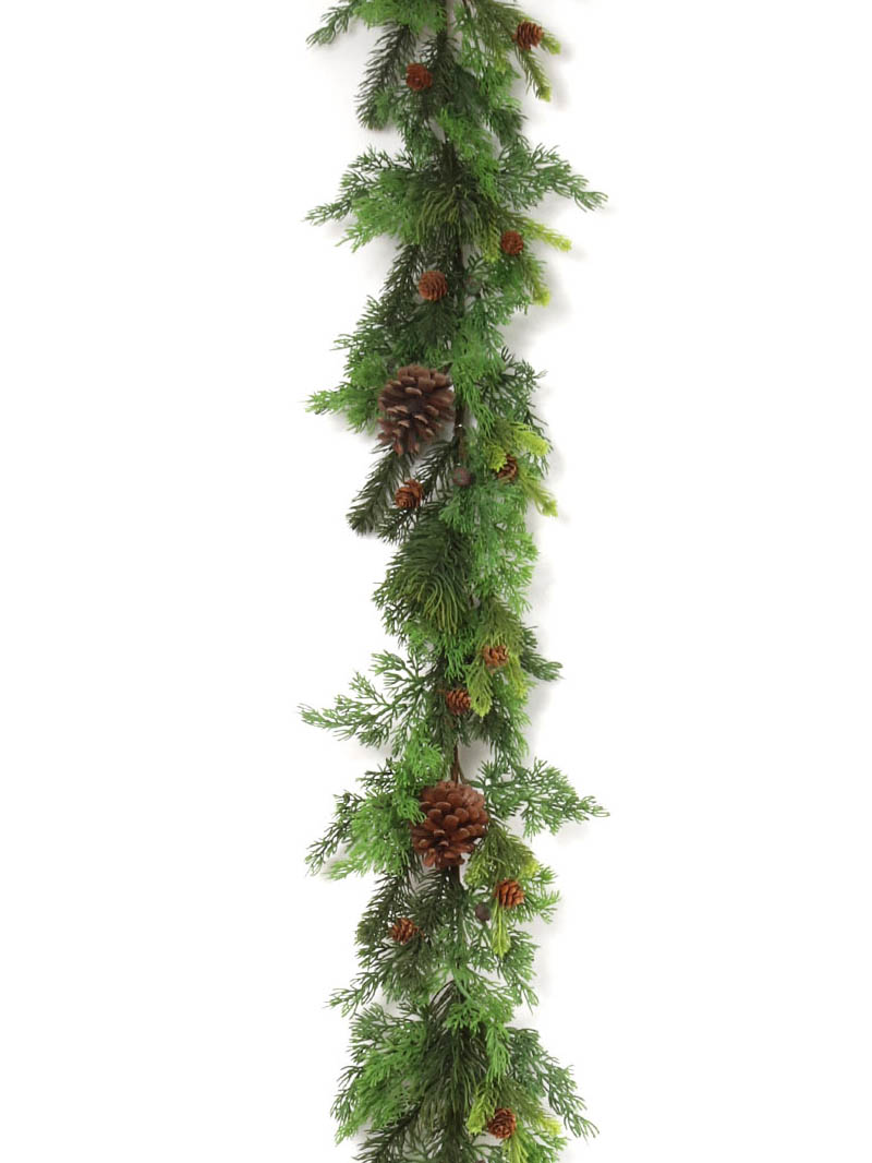 6' MIXED PINE GARLAND W CONES