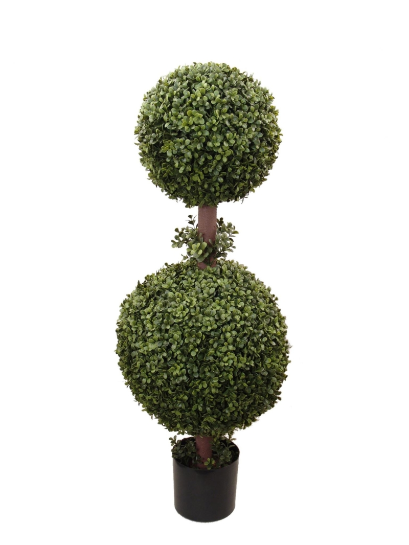 "35"" BOXWOOD DBL BALL TOP IN POT - GREEN"