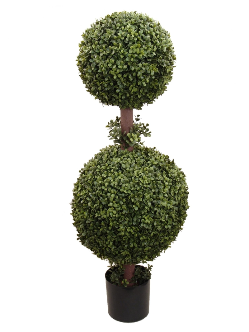 "43"" BOXWOOD DBL BALL TOP IN POT - GREEN"