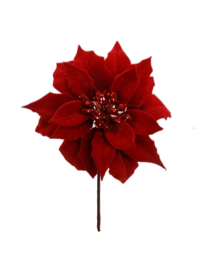 "9.5"" POINSETTIA PICK 7.5"" DIA - RED"