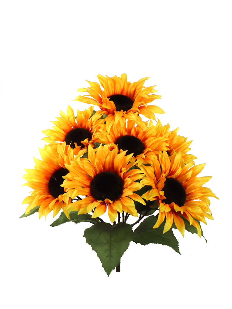 "22"" SUNFLOWER BUSH X7 W/GREEN LEAVES - YELLOW"