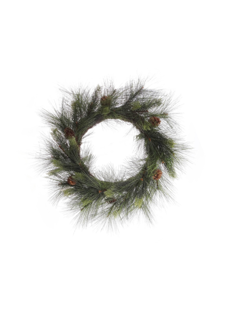 "24"" PINE WREATH/PINE CONE - NATURAL"