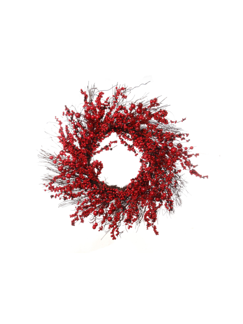 "22"" MIX BERRY WREATH - RED"