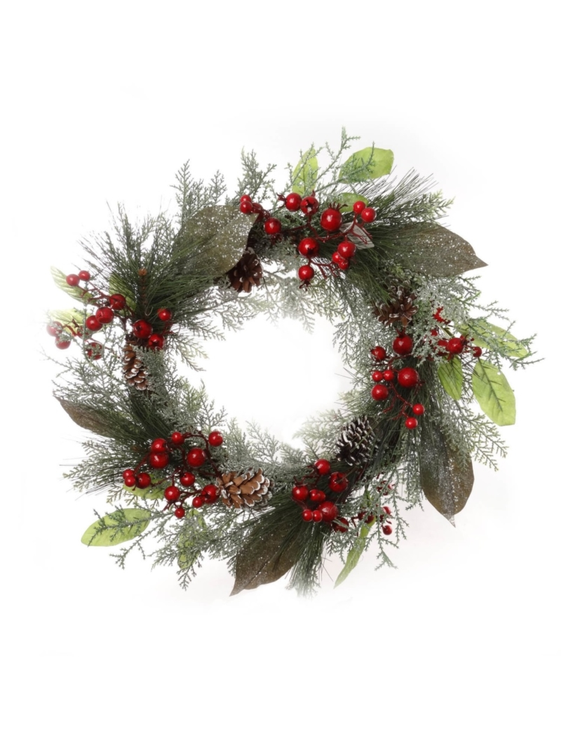 "20""ICED BERRY PINE WREATH"