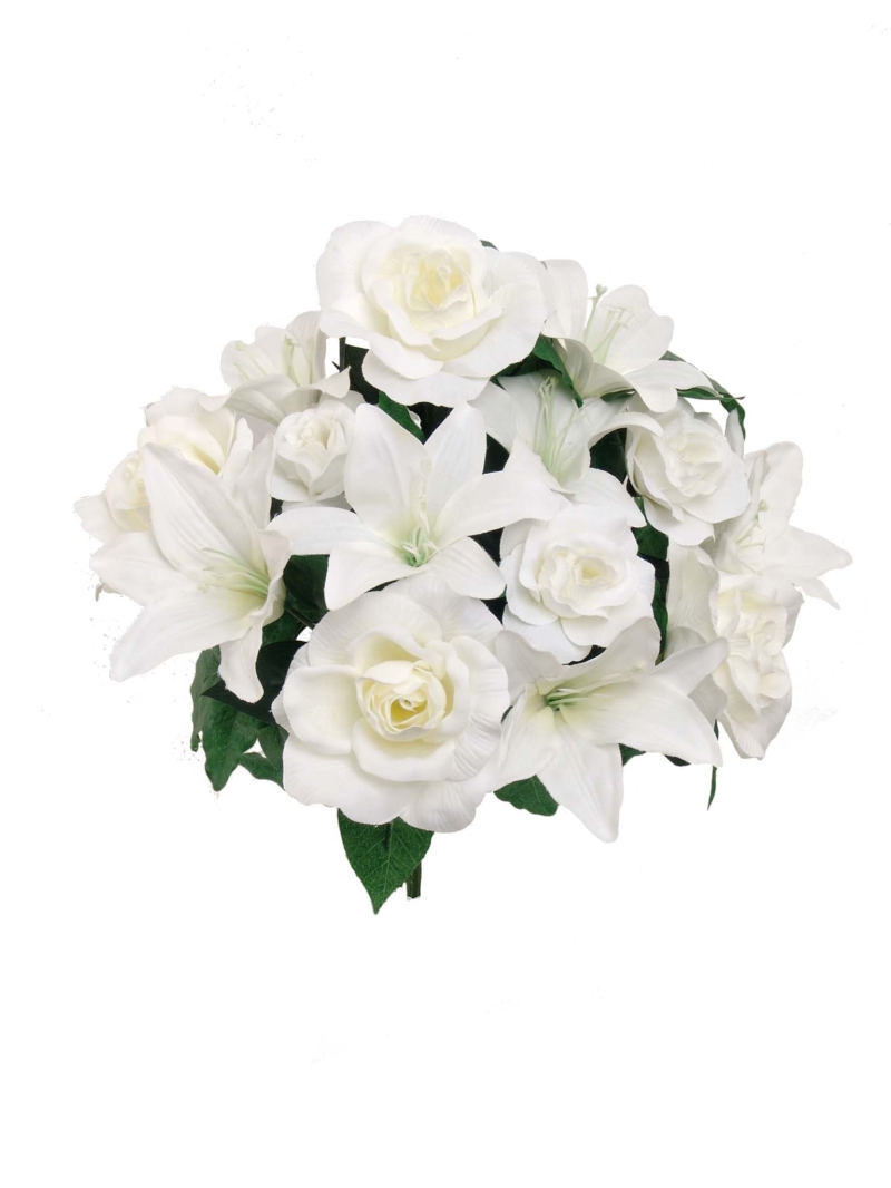 "14""ROSE/LILY WEDDING BUSH - WHITE"