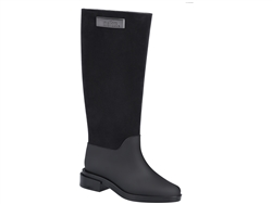 Black Long Boot Flocked