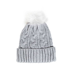 Intricate Grey Knit Pompom Top Beanie