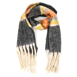 Light Colors Long Fringe Black Scarf