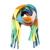 Mixed Colors Long Fringe Blue Scarf