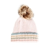 Stripe Knitted Blush Pompom Beanie