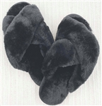 Solid Faux Fur Black Slippers