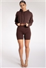 Brown Hoodie Biker Shorts Set