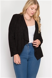 Black Faux Suede Blazer Jacket