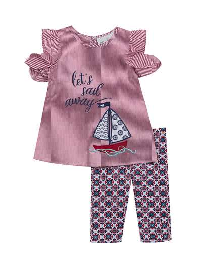 Let's Sail Away Red Stripe Nautical Legging Set,Rare Editions,Baby Girls (12-24M)