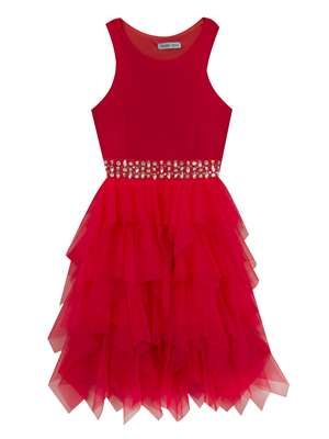 Coral Scuba Dress With Beaded Waist And Mesh Ruffle Skirt,Tween Diva,Little Girls (4-6X)