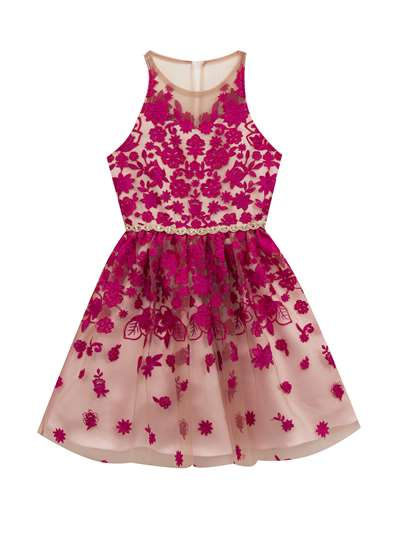7622886d256 Fuchsia Scattered Embroidered Dress