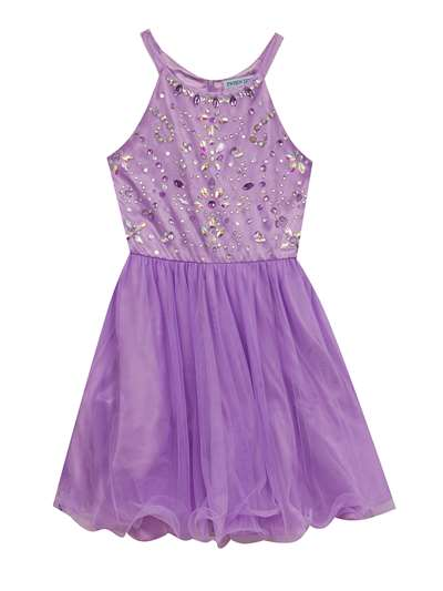 Lilac Mesh Beaded Dress,Tween Diva,Big Girls (7-16)