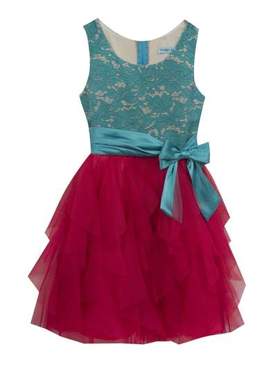 Teal Lace & Bow To Pink Ruffle Dress,Tween Diva,Big Girls (7-16)