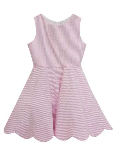 Pink Seersucker Dress Scallop Hem & Bow Back,Rare Editions,Big Girls (7-16)