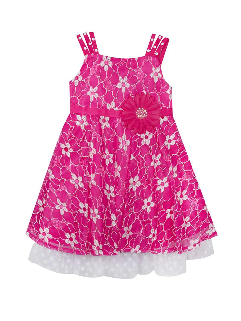 Fuchsia Lace Party Dress With Flower Embellishment,Rare Editions,Big ...