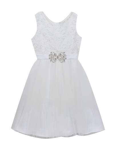White Lace To Mesh Dress With Jewel Embellishment,Rare Editions,Big Girls (7-16)