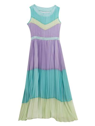 Aqua Mint Purple Chiffon Pleated Dress,Tween Diva,Big Girls (7-16)