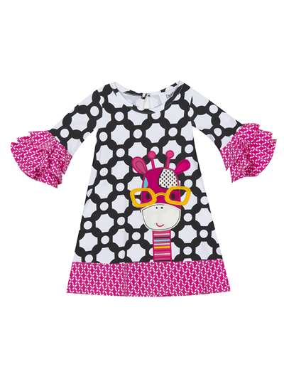 Smart Giraffe On Black/White Printed Dress With Fuchsia Ruffles, Counting Daisies, Big Girls (7-16)
