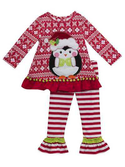 Happy Penguin Set With Snowflake Print, Rare Editions, Baby Girls (12-24M)