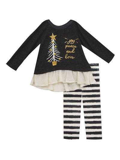Joy Peace And Love Christmas Tree Legging Set, Rare Editions, Baby Girls (12-24M)