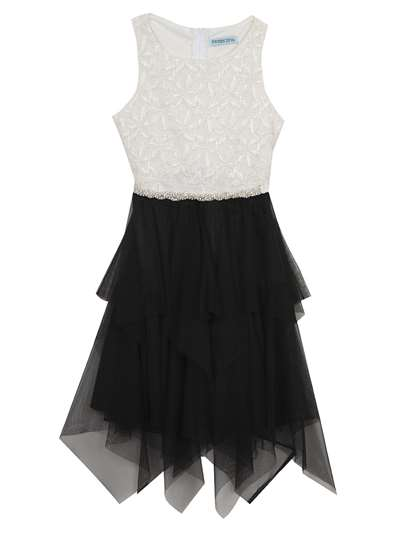 Glitter Lace Dress With Black Mesh Skirt, Tween Diva, Big Girls (7-16)