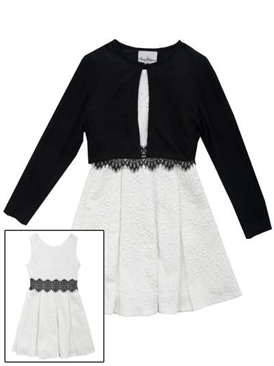 Textured Knit Dress W/ Black Cardigan, Rare Editions, Big Girls (7-16)