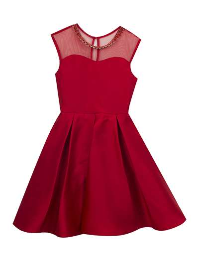 Red Satin Illusion Dress, Rare Editions, Big Girls (7-16)