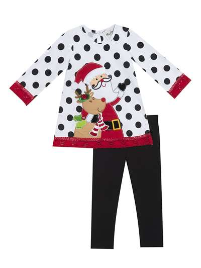 Santa And Rudolph Dot Legging Set, Counting Daisies, Big Girls (7-16)