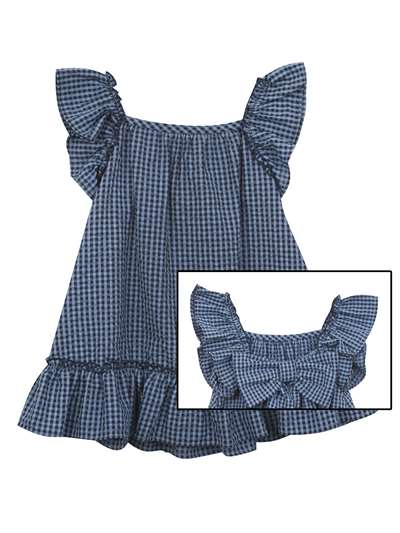 Navy Check Seersucker Bow Back Summer Dress, Rare Editions, Baby Girls (12-24M)
