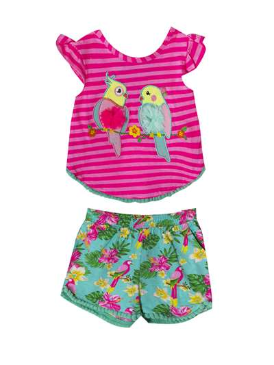 Tropical Parakeets Stripe Set With Hawaiian Shorts, Rare Editions, Baby Girls (12-24M)
