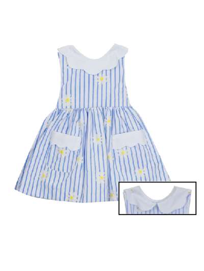 Chambray & White Stripe W/ Daisy Embroidered Dress, Rare Editions, Baby Girls (12-24M)