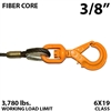 "3/8"" Fiber Core Winch Line with Thimbled Eye and Self Locking Swivel Hook"