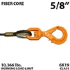 "5/8"" Fiber Core Winch Line with Thimbled Eye and Self Locking Swivel Hook"