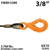 3/8 Inch Fiber Core Winch Line with Fixed Eye Self Locking Hook
