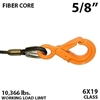 5/8 Inch Fiber Core Winch Line with Fixed Eye Self Locking Hook