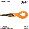 "3/4"" Fiber Core Winch Line with Fixed Eye Self Locking Hook"