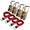 Set of Four – Reinforced Lasso Straps with Cordura Eyes and Long Handle Ratchet Tie Down with Finger Hooks Combo Kit