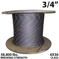 "3/4"" Coil Domestic Bulk Wire Rope BIWRC 6X37"