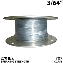 "3/64"" 7x7 Galvanized Aircraft Cable X 500FT"