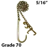 "5/16"" G70 Chain Assembly - 15"" J-Hook and T Hook / Grab Hook"