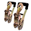Two Rugged Grip Long Handle Ratchets with Snap/Latch Type Finger Hooks
