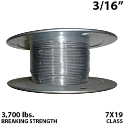 "3/16"" 7x19 Stainless Steel Aircraft Cable"